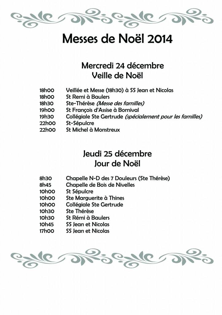 HORAIRE Messes de Noël 2014