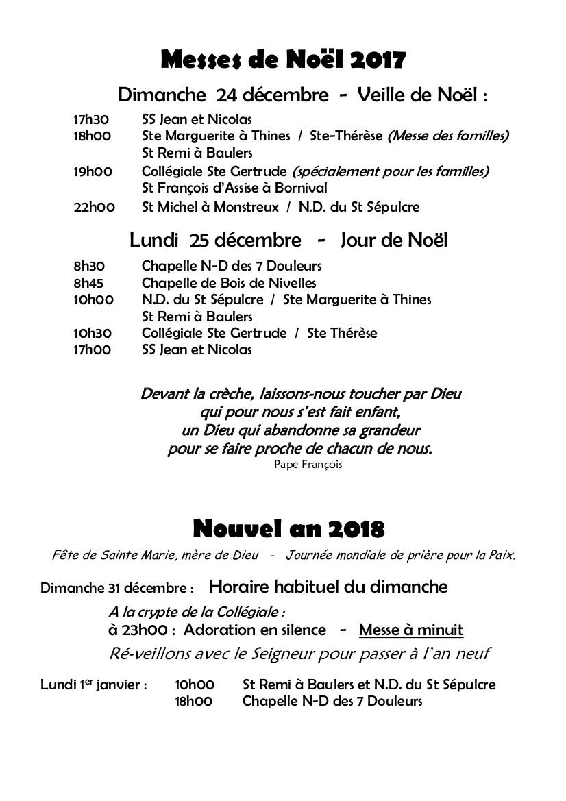 HORAIRE Messes de Noël 2017 - nouvel an 2018